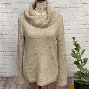 WHBM taupe champagne shimmer cowl neck sweater